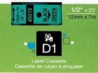 Dymo-SD45019-black-on-green-label-roll-Genuine